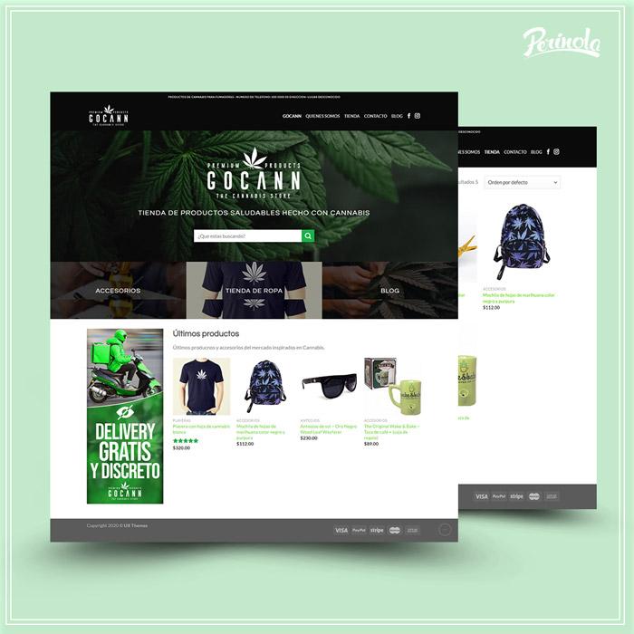 Diseño de tienda web para vender productos hechos de marihuana